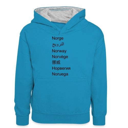 FN-Norge - plagget.no - Kontrast-hettegenser for tenåringer