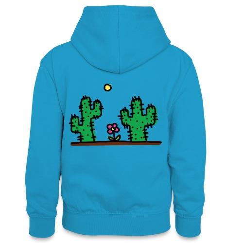 Cactus - Felpa con cappuccio in contrasto cromatico per ragazzi
