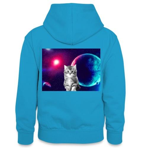 Cute cat in space - Teinien kontrastivärinen huppari