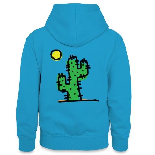 Cactus single - Felpa con cappuccio in contrasto cromatico per ragazzi