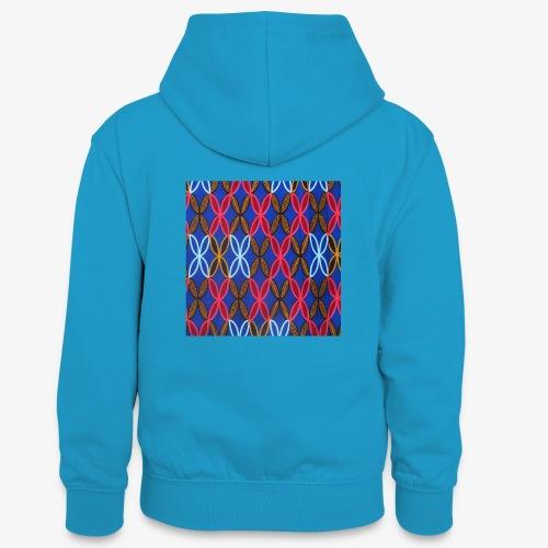 Design motifs bleu rose orange marron - Sweat à capuche contrasté Ado