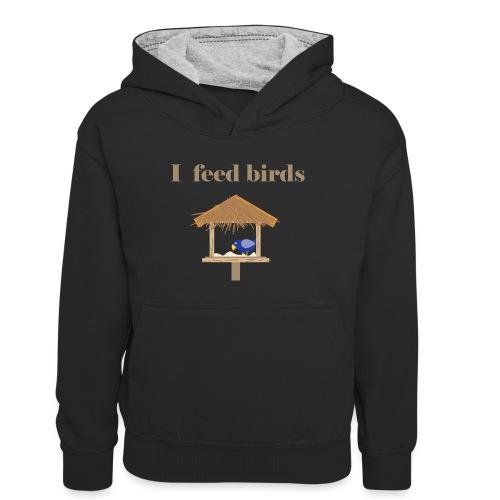 I feed birds - Teinien kontrastivärinen huppari
