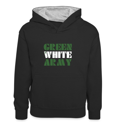 GREEN & WHITE ARMY _STENCIL_3 - Teenager Contrast Hoodie