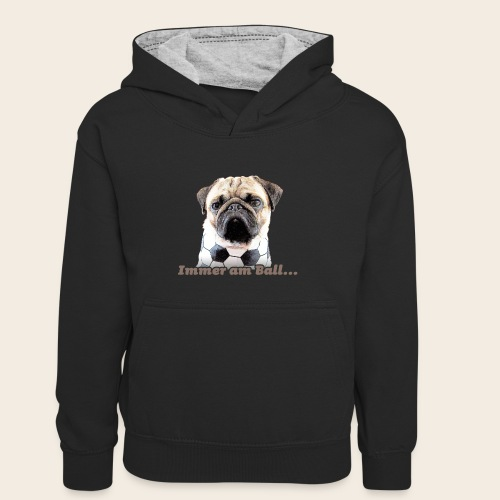 Mops am Ball 2 - Teenager Kontrast-Hoodie
