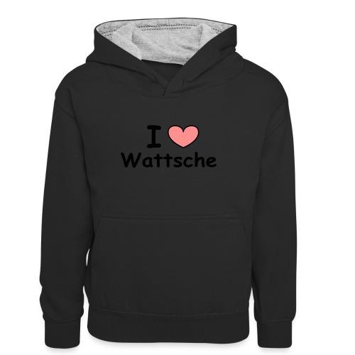 I love Wattsche - Teenager Kontrast-Hoodie
