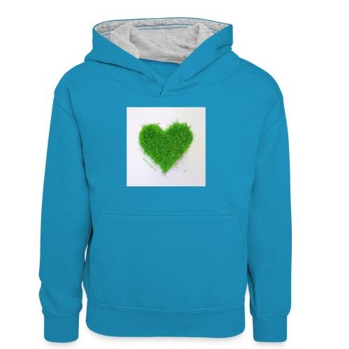 Herzrasen Button - Teenager Kontrast-Hoodie