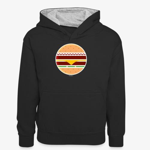 Circle Burger - Felpa con cappuccio in contrasto cromatico per ragazzi
