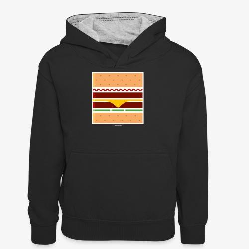 Square Burger - Felpa con cappuccio in contrasto cromatico per ragazzi