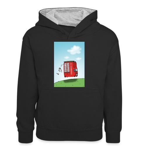 Feuerwehrwagen - Teenager Kontrast-Hoodie