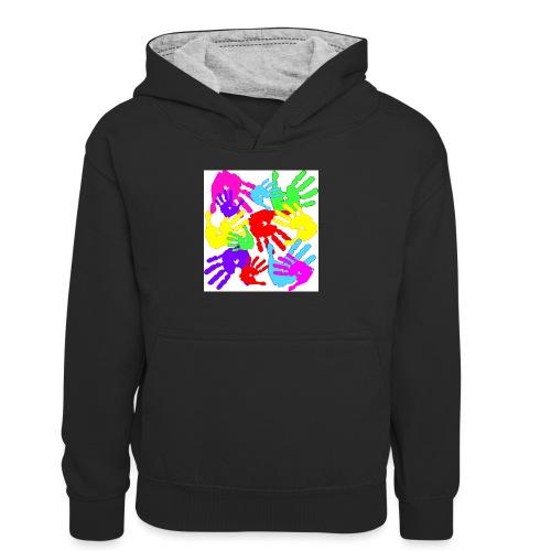 pastrocchio2 - Felpa con cappuccio in contrasto cromatico per ragazzi