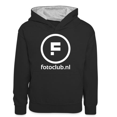 Logo Rond Wit met tekst - Teenager contrast-hoodie