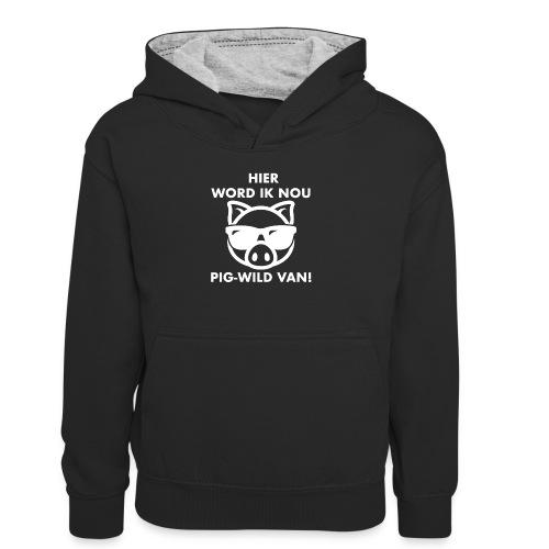 Hier word ik nou PIG-WILD VAN! - Teenager contrast-hoodie