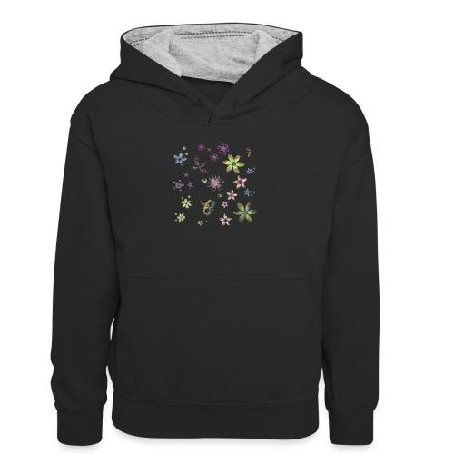 flowers and butterflies - Felpa con cappuccio in contrasto cromatico per ragazzi