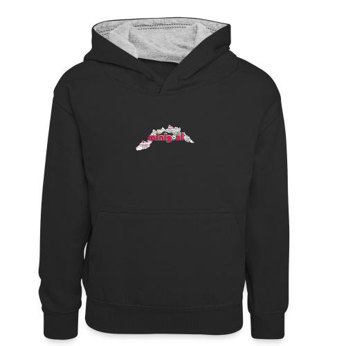 Maglietta Uomo Liguria - Felpa con cappuccio in contrasto cromatico per ragazzi