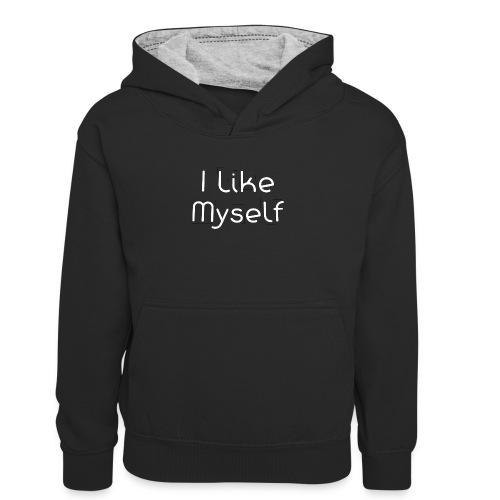 I Like Myself - Felpa con cappuccio in contrasto cromatico per ragazzi