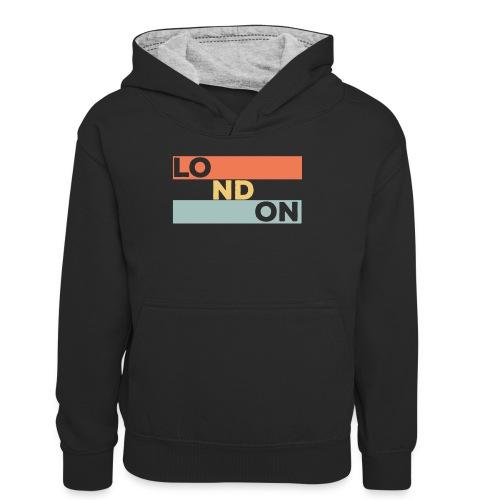 Vintage London Souvenir - Retro Streifen London - Teenager Kontrast-Hoodie