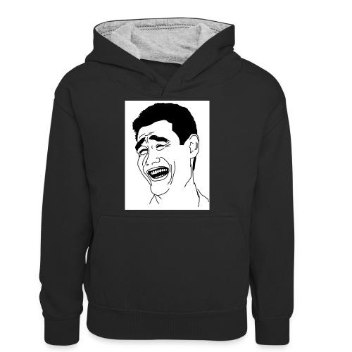 Yao Ming Face Bitch Please - Młodzieżowa bluza z kontrastowym kapturem