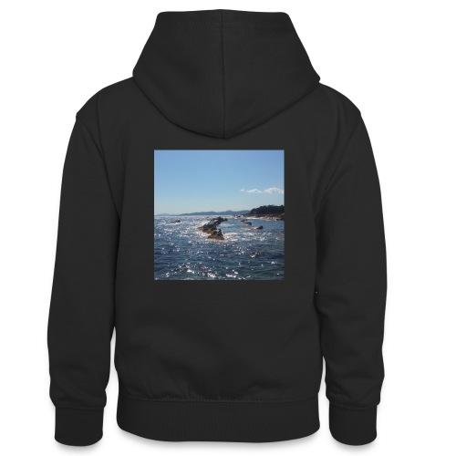 Mer avec roches - Sweat à capuche contrasté Ado