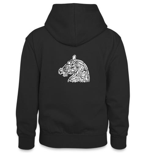 horse - cheval blanc - Sweat à capuche contrasté Ado