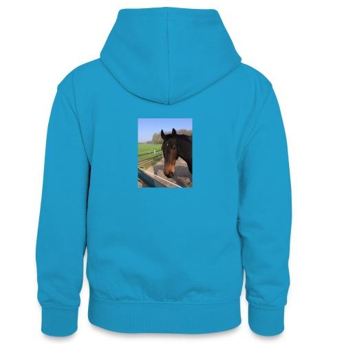 Met bruin paard bedrukt - Teenager contrast-hoodie