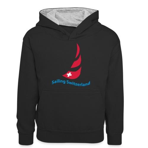 logo sailing switzerland - Teenager Kontrast-Hoodie