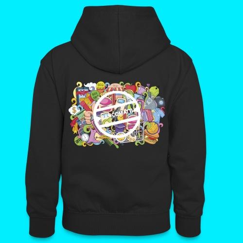 maglia logo doodle - Felpa con cappuccio in contrasto cromatico per ragazzi