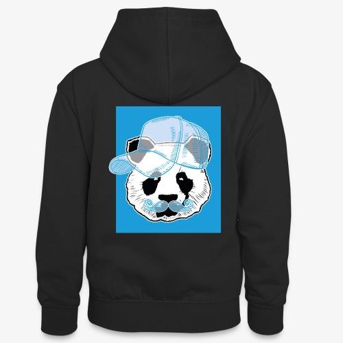 Panda - Cap - Mustache - Teenager Kontrast-Hoodie