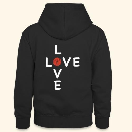 LOVE Cross white wuerfel red 001 - Teenager Kontrast-Hoodie