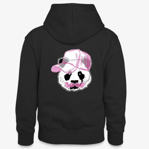 Panda - Pink - Cap - Mustache - Teenager Kontrast-Hoodie