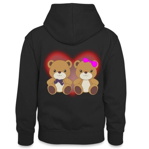 Orsetti con cuore - Felpa con cappuccio in contrasto cromatico per ragazzi