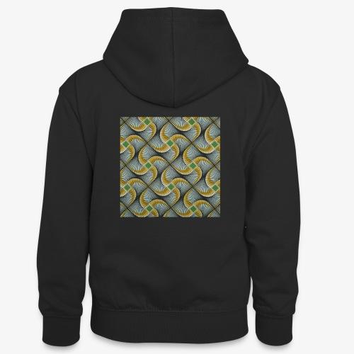 Design motif jaune vert gris - Sweat à capuche contrasté Ado
