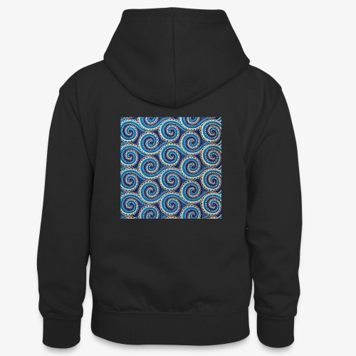 Spirales au motif bleu - Sweat à capuche contrasté Ado