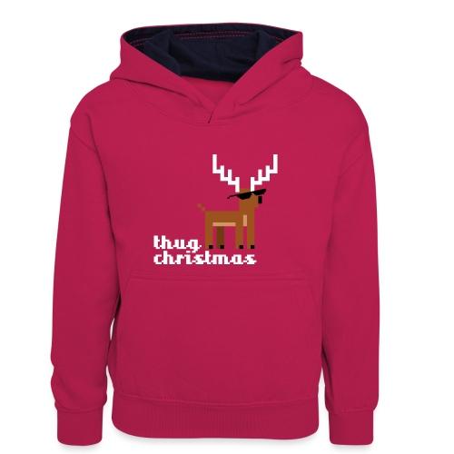 Christmas Xmas Deer Pixel Funny - Teenager Contrast Hoodie