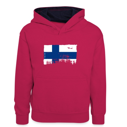 Suomen lippu, Finnish flag T-shirts 151 Products - Teinien kontrastivärinen huppari