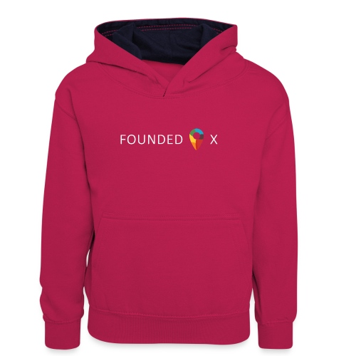 FoundedX logo white png - Teenager Contrast Hoodie