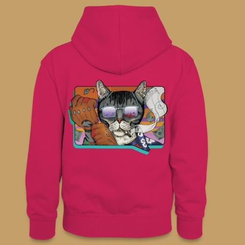 Crime Cat in Shades - Młodzieżowa bluza z kontrastowym kapturem