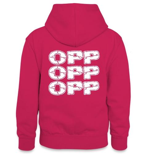 OPP Logo White - Teinien kontrastivärinen huppari