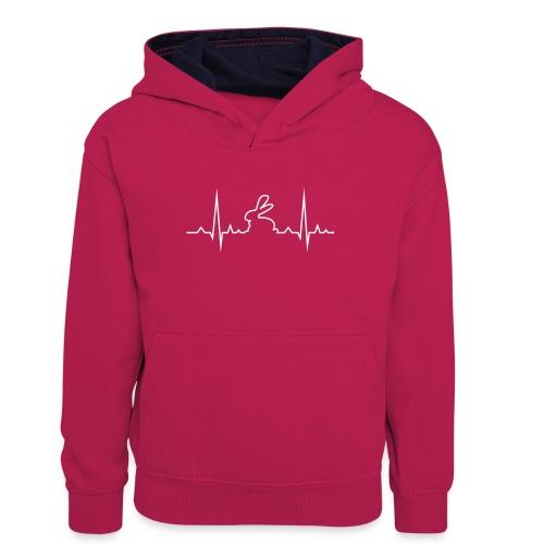 EKG Herzschlag Hase Kaninchen Zwergkaninchen - Teenager Kontrast-Hoodie