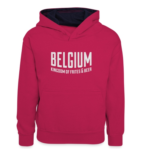 Belgium kingdom of frites & beer - Sweat à capuche contrasté Ado