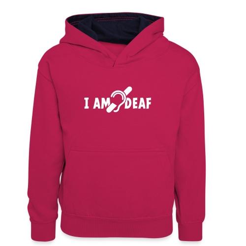 I am deaf. Ik hoor je niet. Doven, slechthorend - Teenager contrast-hoodie