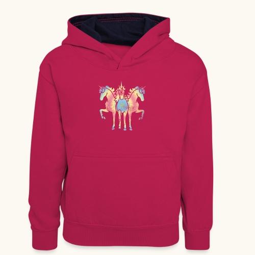 Licorne troïka arc-en-ciel grunge drôle cadeau - Sweat à capuche contrasté Ado