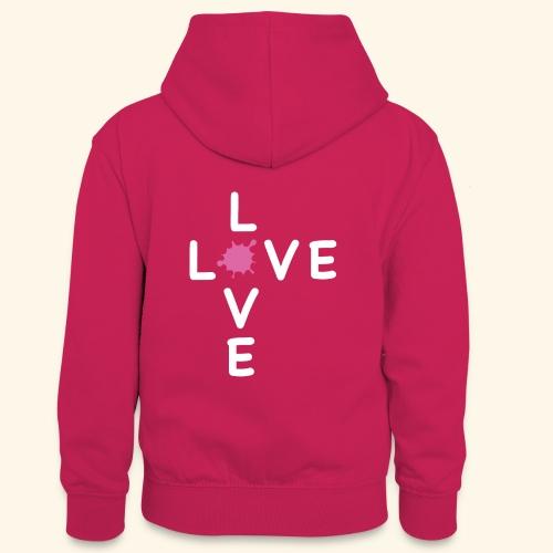LOVE Cross white klecks pink 001 - Teenager Kontrast-Hoodie
