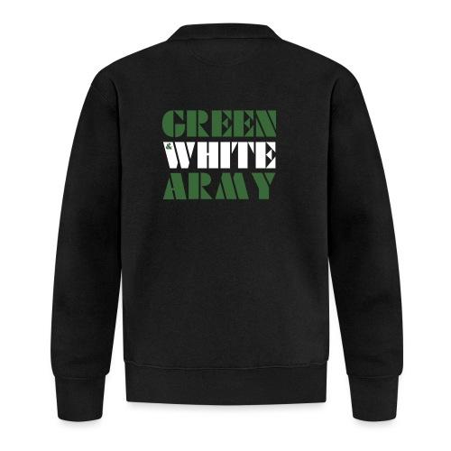 GREEN & WHITE ARMY _STENCIL_3 - Unisex Baseball Jacket