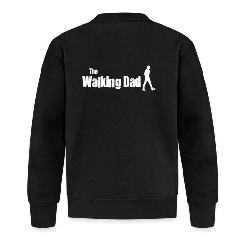 the walking dad white text on black - Unisex Baseball Jacket