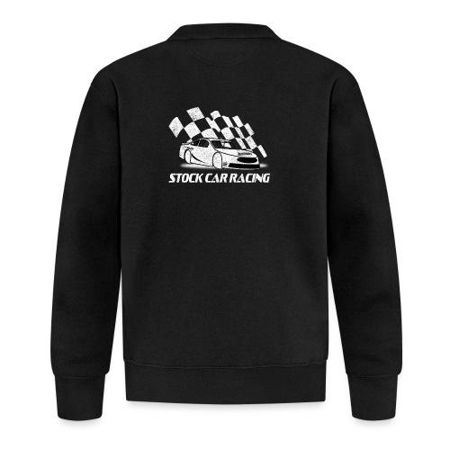 Stock Car Racing car and flag - Unisex Baseball Jacket