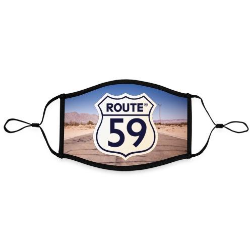 Route 59 met achtergrond - Contrasterend mondkapje, instelbaar (Large)