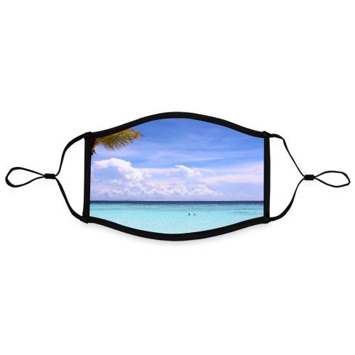 Traumhafte Malediven Strand Palme Meer Wolken Blau - Kontrastmaske, einstellbar (Large)