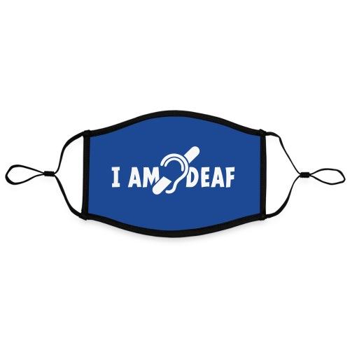 I am deaf. Ik hoor je niet. Doven, slechthorend - Contrasterend mondkapje, instelbaar (Large)