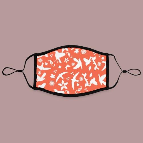Motif oiseaux, fleurs et plumes nature fond orange - Masque contrasté, réglable (taille L)