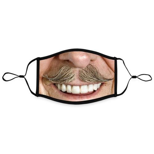Mundschutz mit Motiv - Schnurrbart Zwirbelbart - Kontrastmaske, einstellbar (Large)